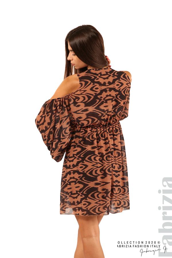 Къса рокля с изрязани рамене-кафяв/черен-6