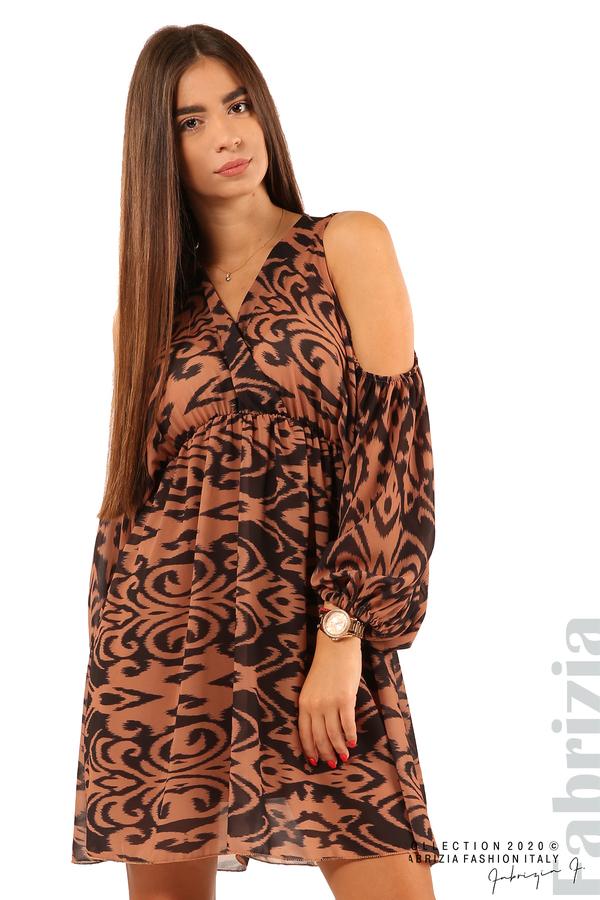 Къса рокля с изрязани рамене-кафяв/черен-1