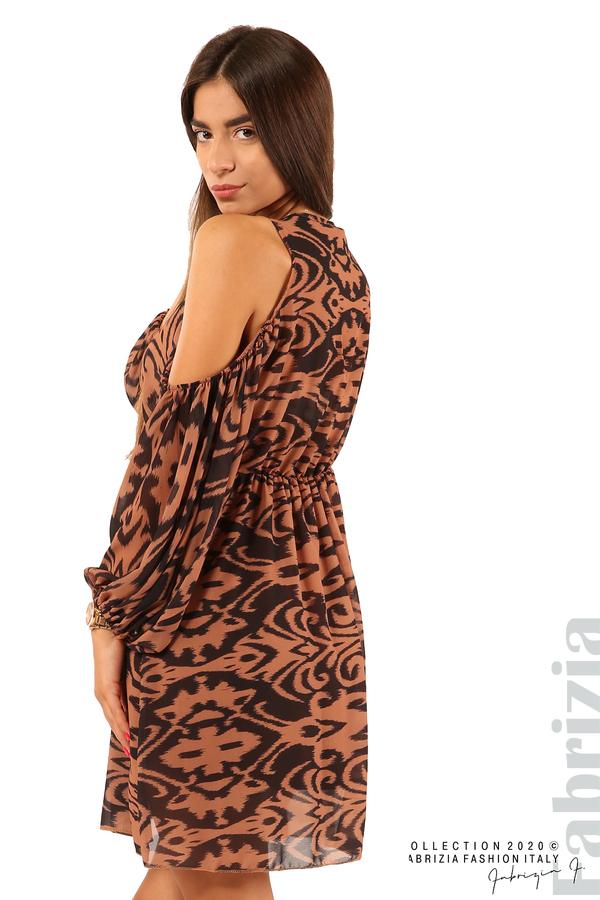 Къса рокля с изрязани рамене-кафяв/черен-5