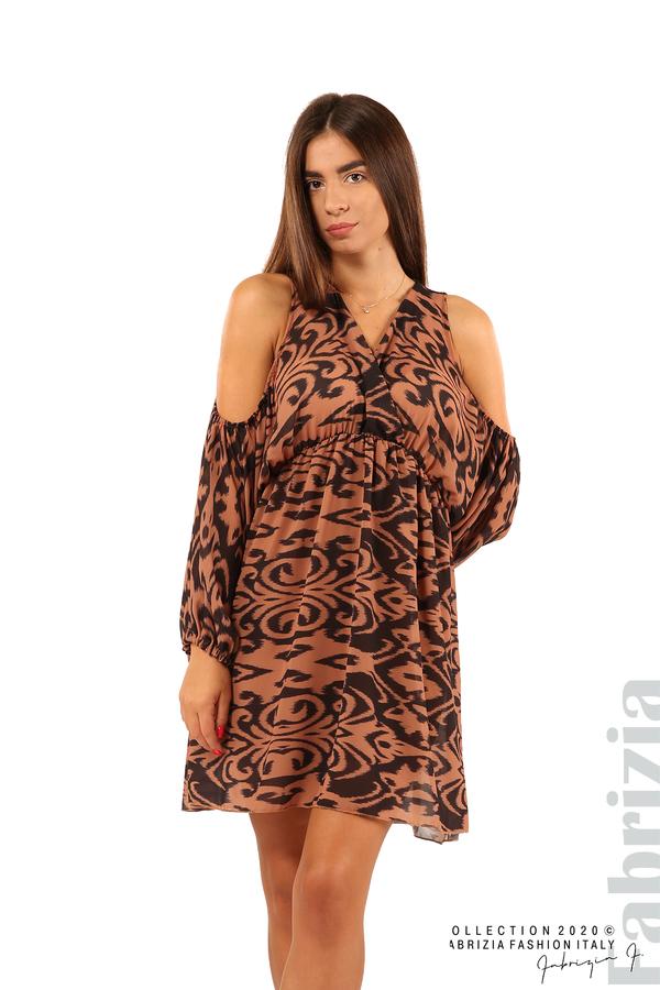 Къса рокля с изрязани рамене-кафяв/черен-4