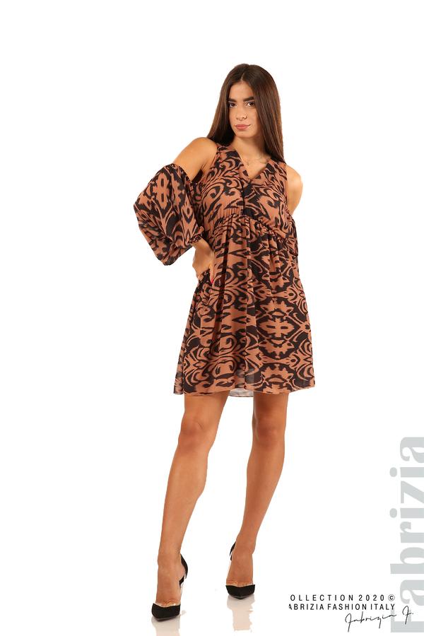 Къса рокля с изрязани рамене-кафяв/черен-3