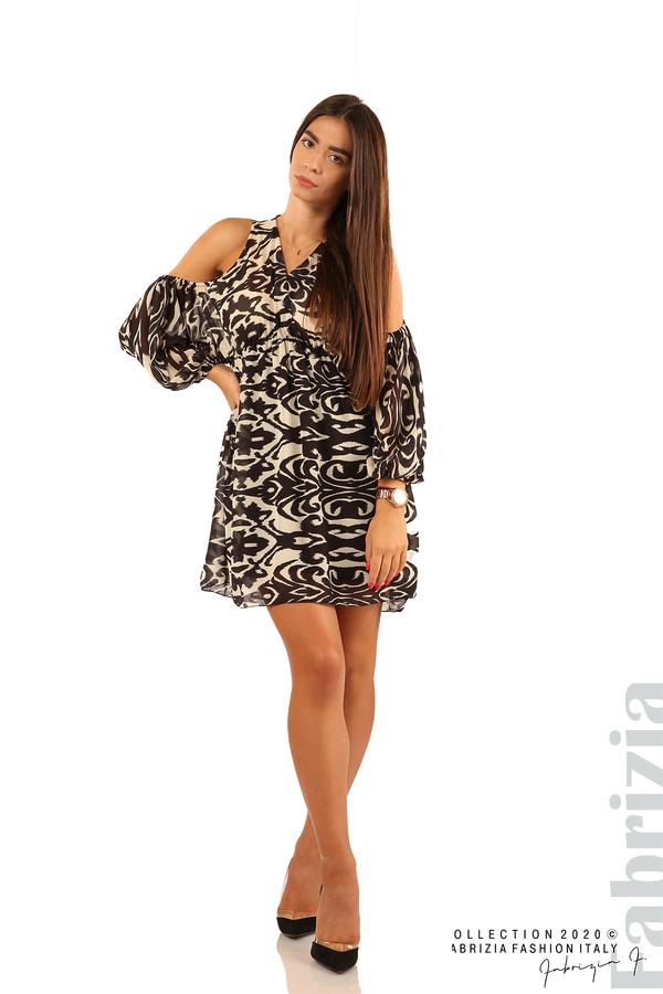 Къса рокля с изрязани рамене-екрю/черен-3