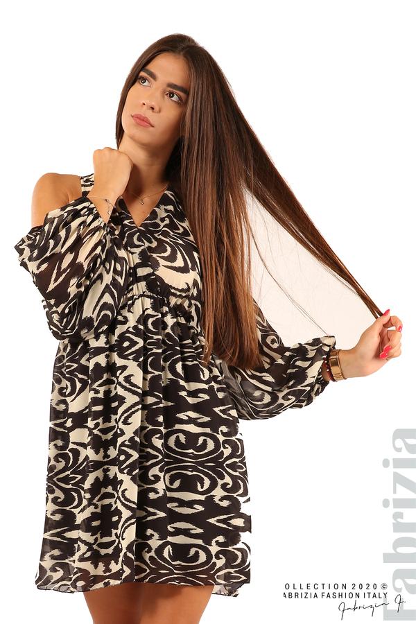 Къса рокля с изрязани рамене-екрю/черен-1