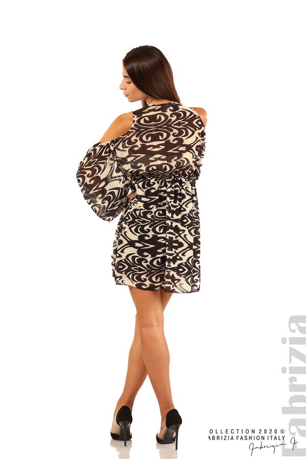 Къса рокля с изрязани рамене-екрю/черен-6