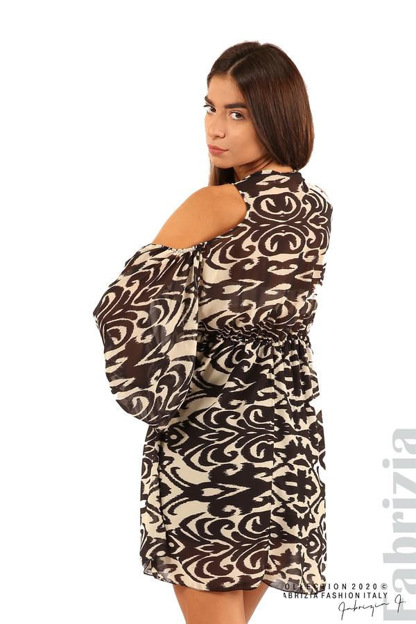 Къса рокля с изрязани рамене-екрю/черен-5