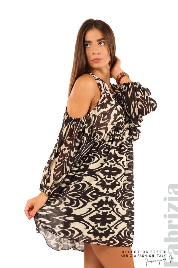 Къса рокля с изрязани рамене-екрю/черен-4