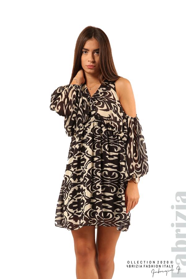 Къса рокля с изрязани рамене-екрю/черен-2