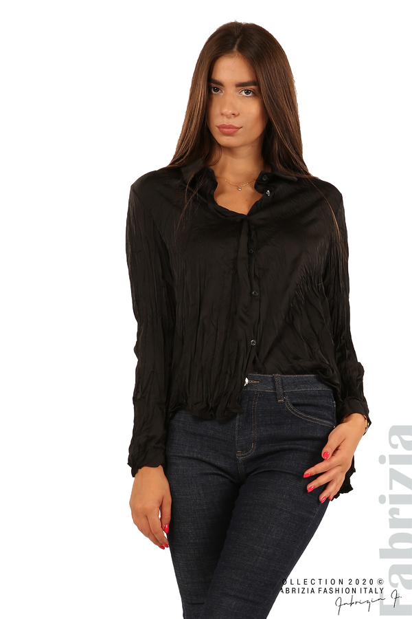 Риза с намачкан ефект-черен-3