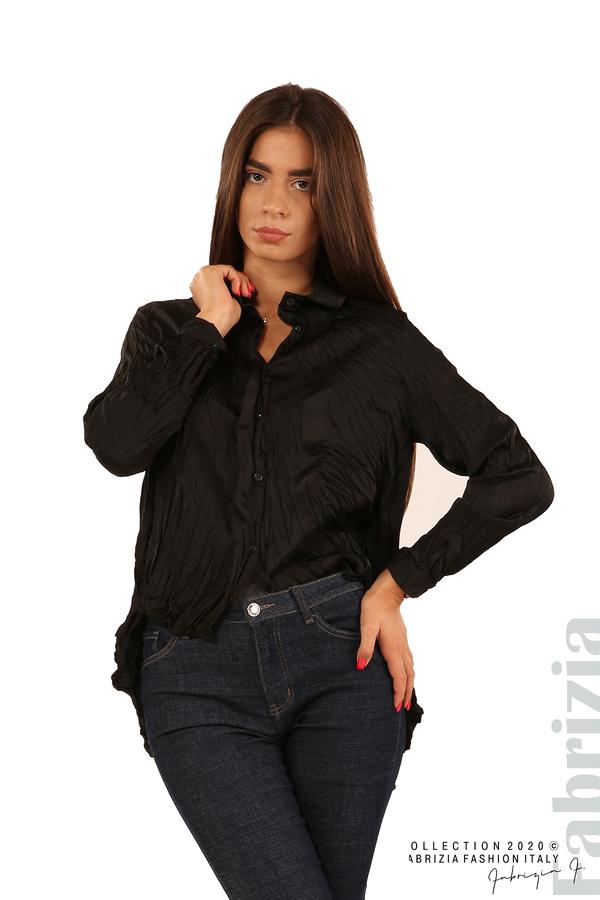 Риза с намачкан ефект-черен-4
