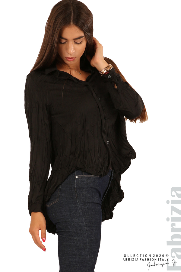Риза с намачкан ефект-черен-2