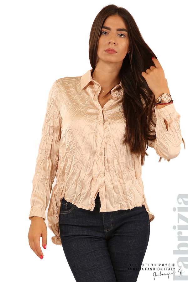 Риза с намачкан ефект-бежов-2