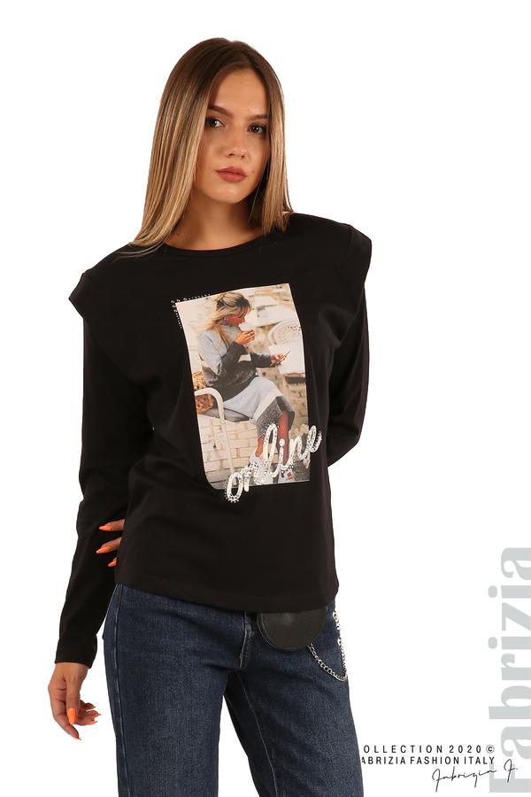 Блуза с принт и подплънки-черен-2