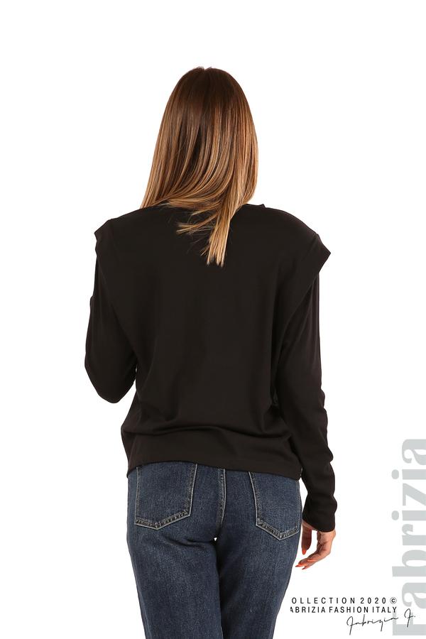 Блуза с принт и подплънки-черен-5