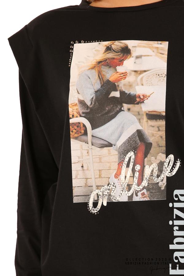 Блуза с принт и подплънки-черен-4