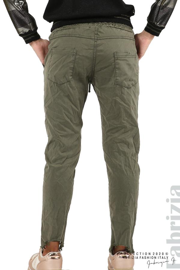 Спортен панталон с акцент на крачолите каки 7 fabrizia