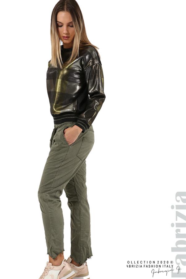 Спортен панталон с акцент на крачолите каки 5 fabrizia