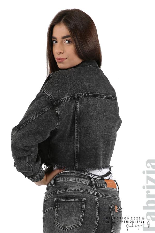 Широко дънково яке-черен-10