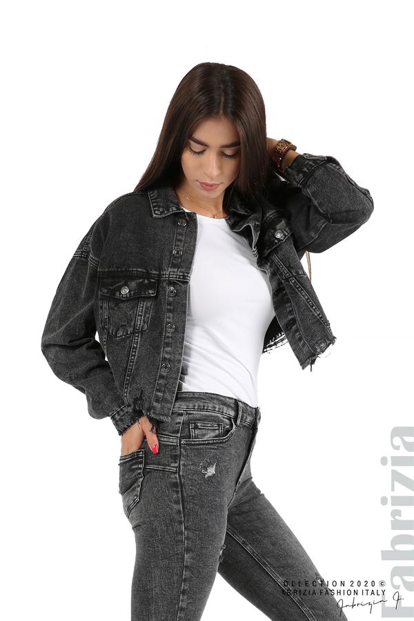 Широко дънково яке-черен-1