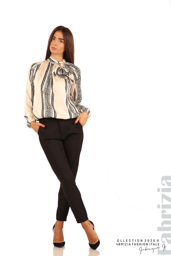 Фигурална блуза с панделка-екрю-3