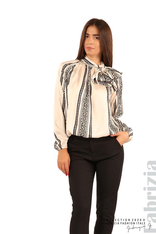 Фигурална блуза с панделка-екрю-1