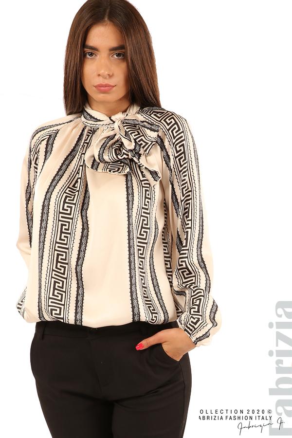 Фигурална блуза с панделка-екрю-2