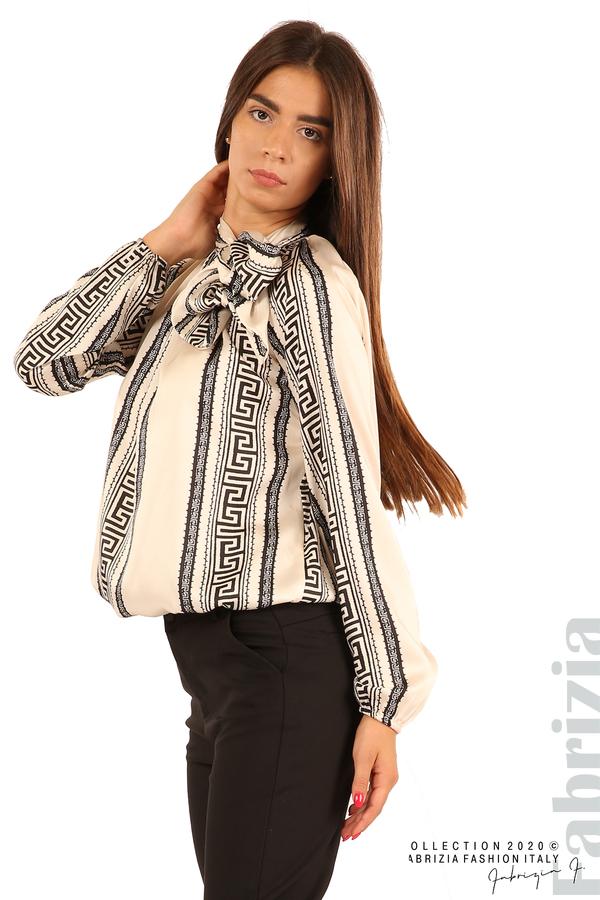 Фигурална блуза с панделка-екрю-4