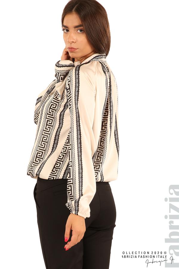 Фигурална блуза с панделка-екрю-6