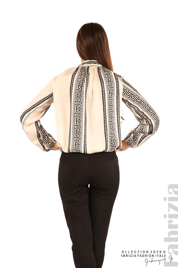 Фигурална блуза с панделка-екрю-7