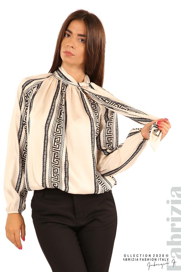 Фигурална блуза с панделка-екрю-5