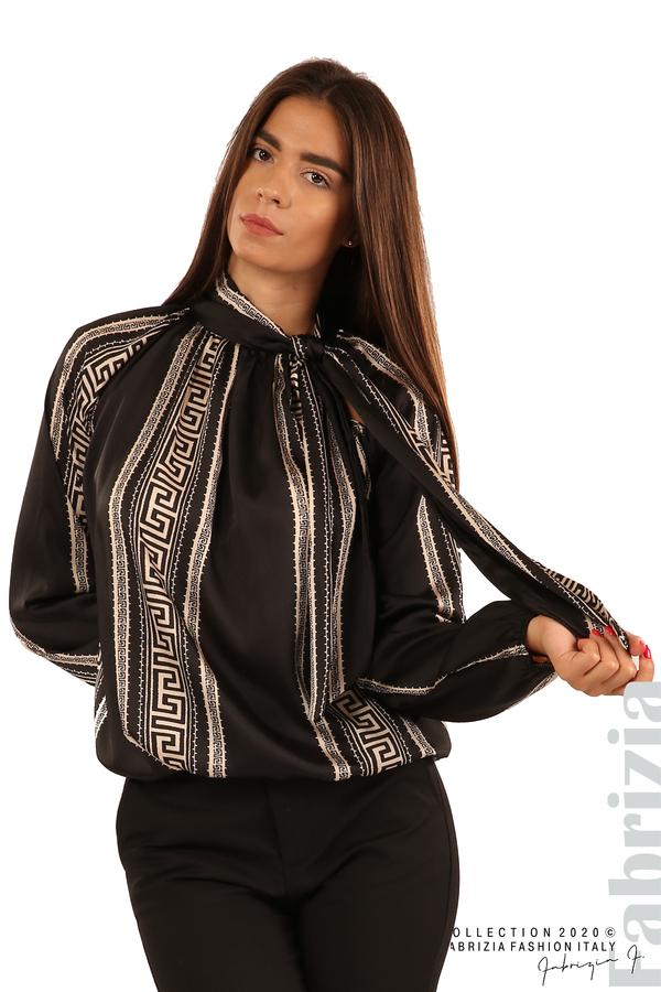 Фигурална блуза с панделка-черен-2