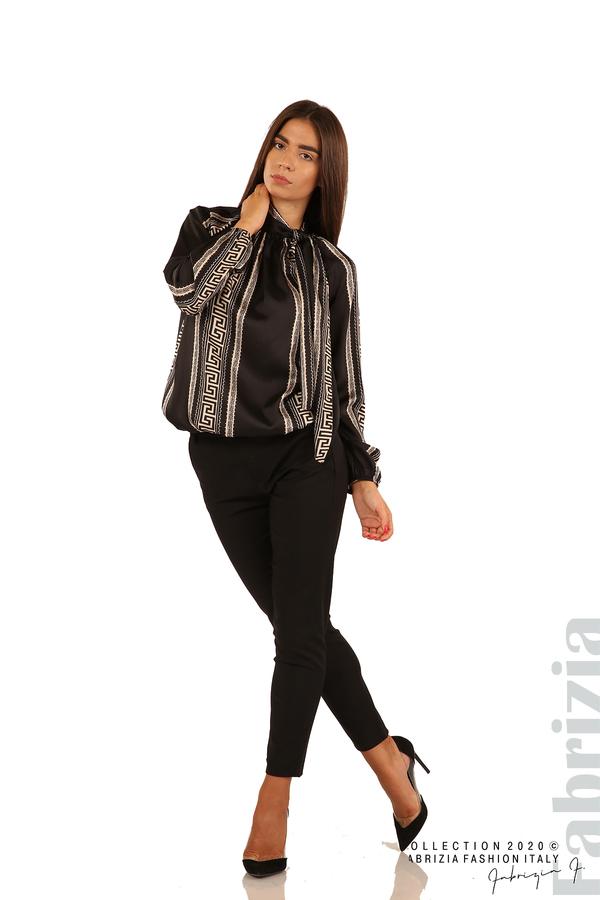 Фигурална блуза с панделка-черен-4