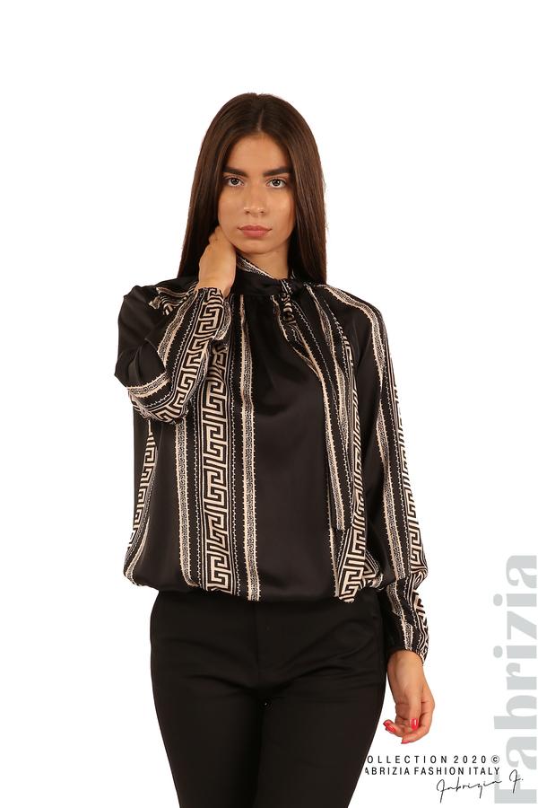 Фигурална блуза с панделка-черен-1