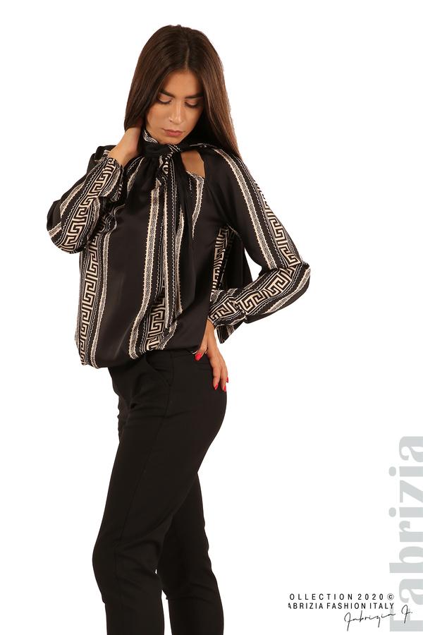 Фигурална блуза с панделка-черен-3