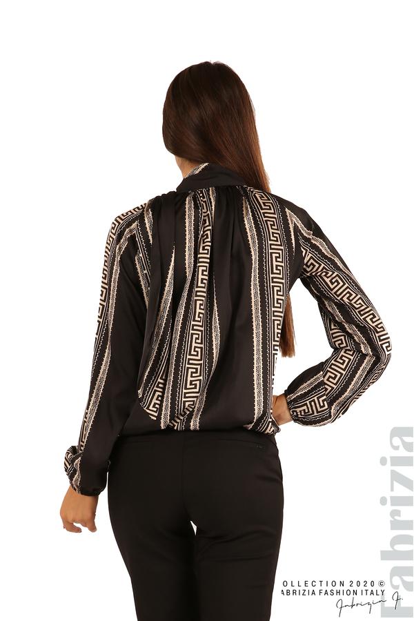 Фигурална блуза с панделка-черен-7