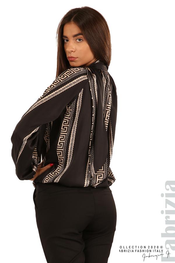Фигурална блуза с панделка-черен-5