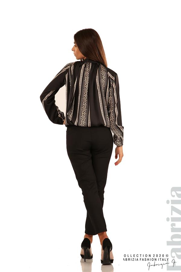 Фигурална блуза с панделка-черен-6