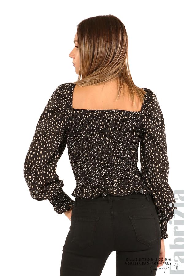 Ластична блуза на точки-черен-6