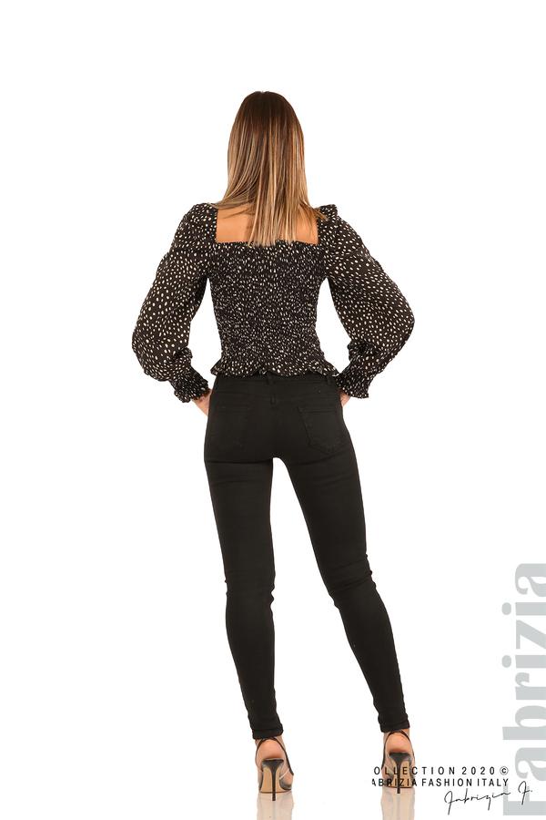 Ластична блуза на точки-черен-5