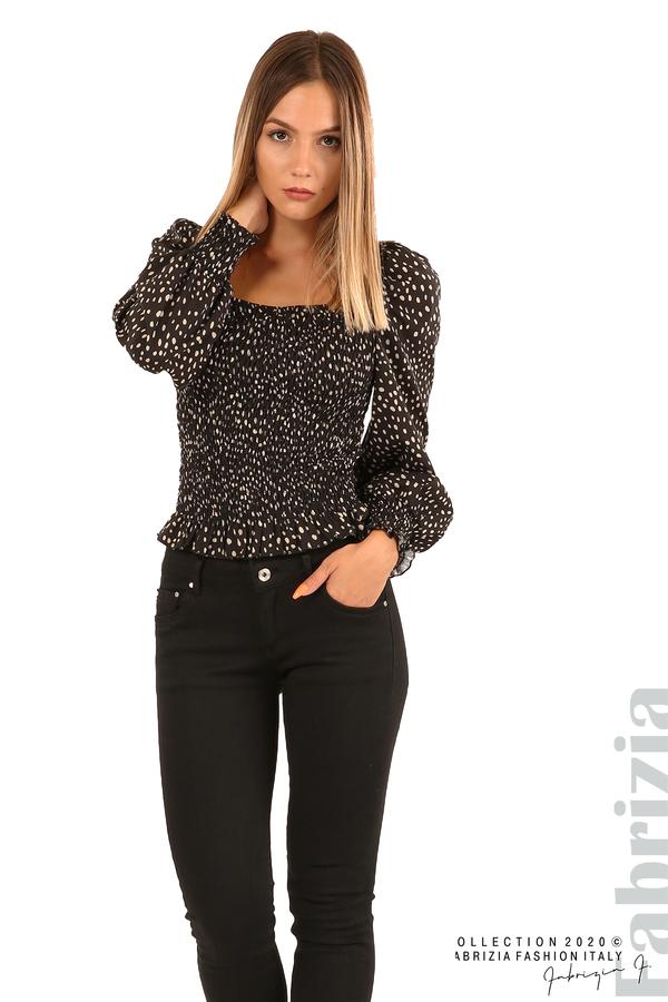 Ластична блуза на точки-черен-2