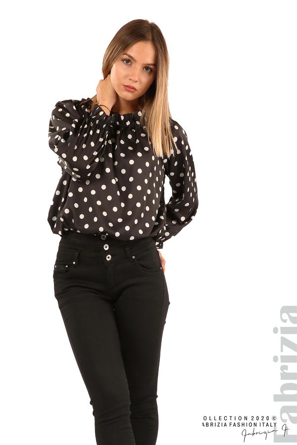 Широка блуза с ластик на деколтето-черен-2