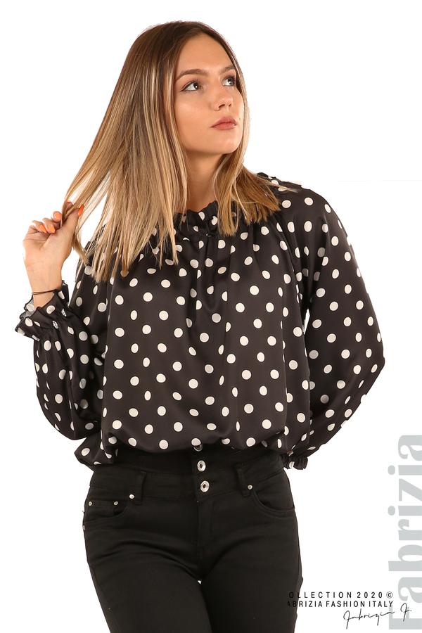 Широка блуза с ластик на деколтето-черен-4