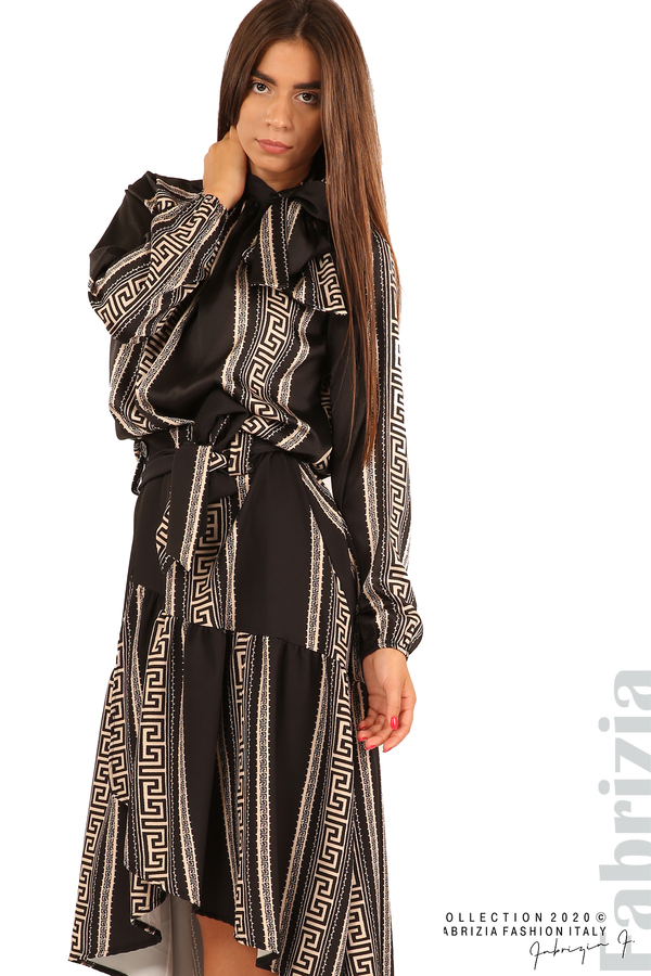 Дамска пола с с нестандартна кройка-черен-4