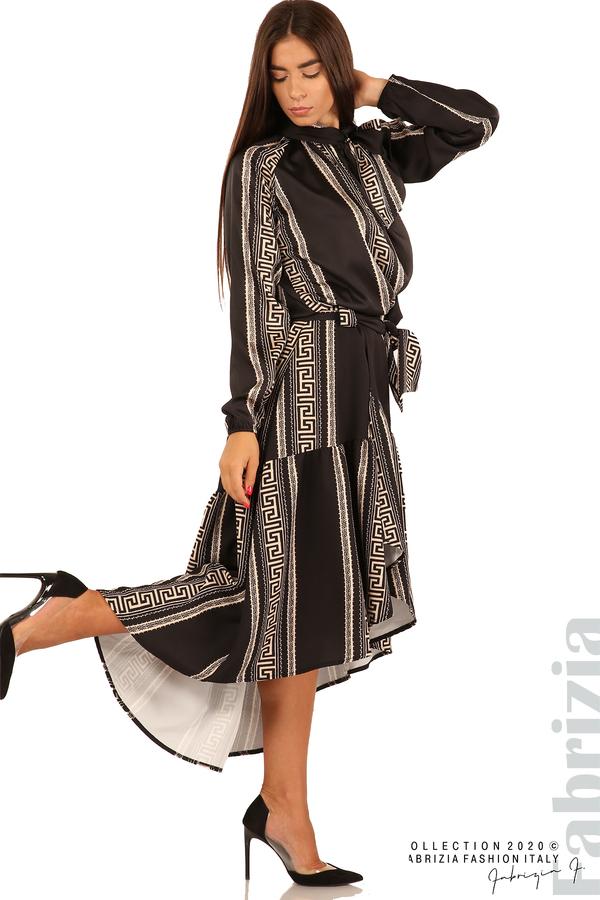 Дамска пола с с нестандартна кройка-черен-1