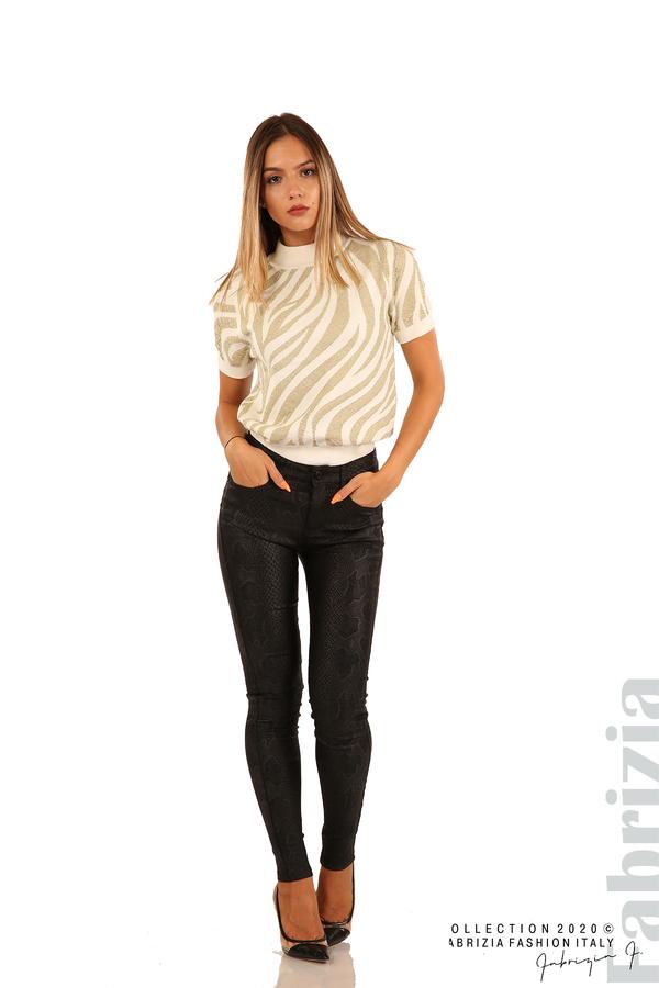 Еластичен панталон със змийска шарка-черен-1
