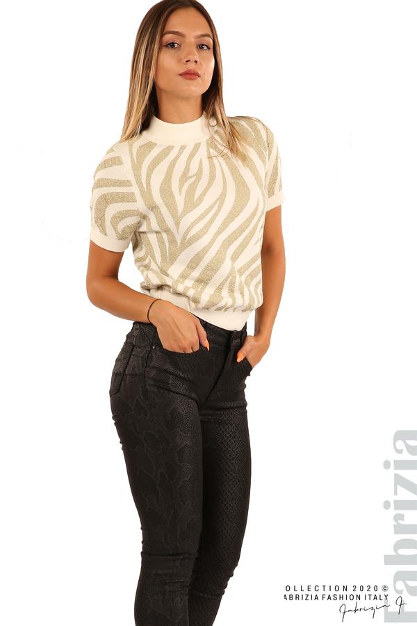 Еластичен панталон със змийска шарка-черен-6