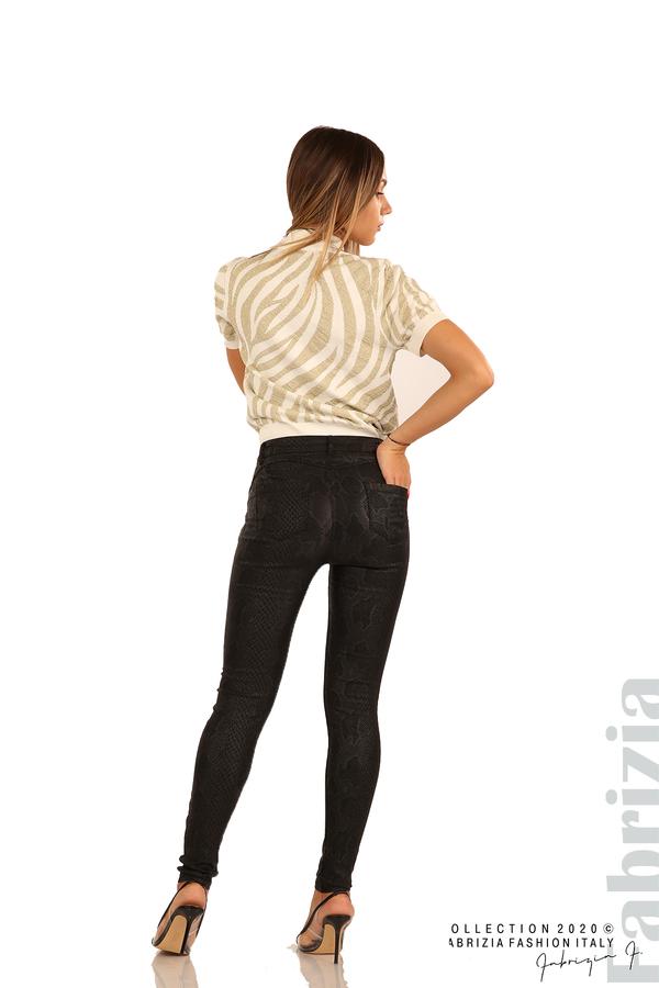 Еластичен панталон със змийска шарка-черен-7