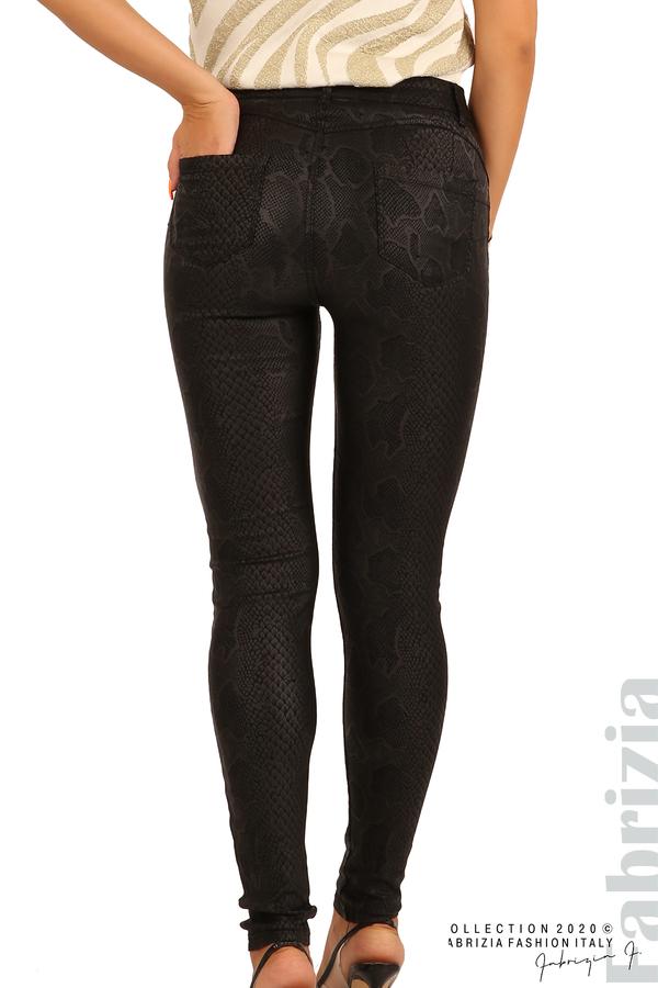 Еластичен панталон със змийска шарка-черен-8