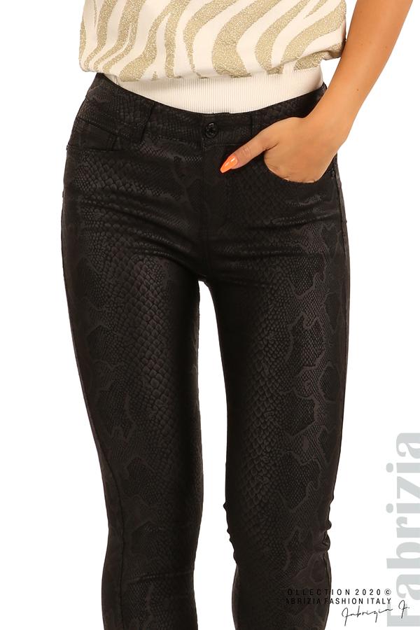 Еластичен панталон със змийска шарка-черен-3