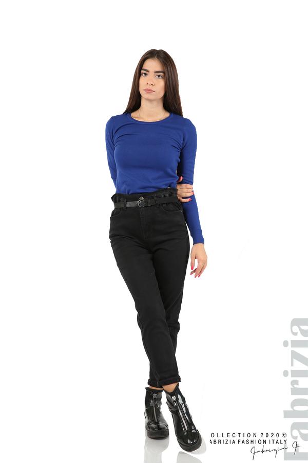 Черни дънки с висока талия и колан-черен-1
