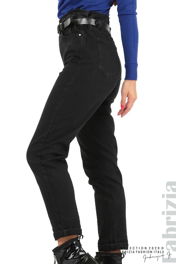 Черни дънки с висока талия и колан-черен-2